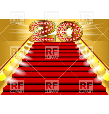 20 Years Anniversary Symbol On The Lighted Stairs Download Royalty