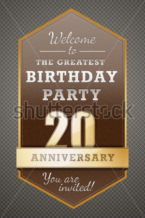 20 Years Happy Birthday Party Card Stock Vector   Clipart Me