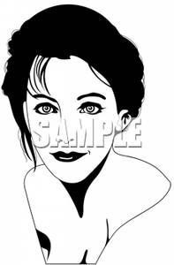 And White Silhouette Of A Female Model   Royalty Free Clipart Picture