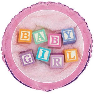 Baby Girl Blocks Baby Shower Foil Balloon 18
