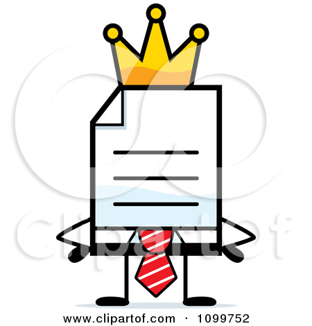 Clipart Business Document Mascot In A Red Tie King   Royalty Free