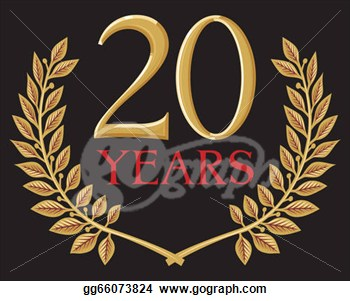 Illustration Of A Golden Laurel Wreath   20 Years  Clipart Gg66073824