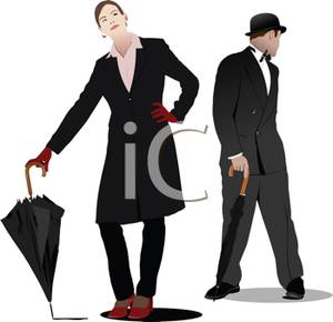 Male And Female Model With Umbrellas   Royalty Free Clipart Picture
