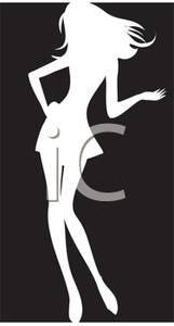 Silhouette Of A Curvaceous Female Model   Royalty Free Clipart Picture