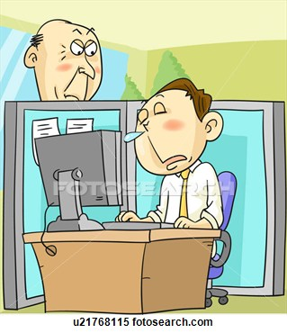 Stock Illustration   Man Sick At Work  Fotosearch   Search Clipart