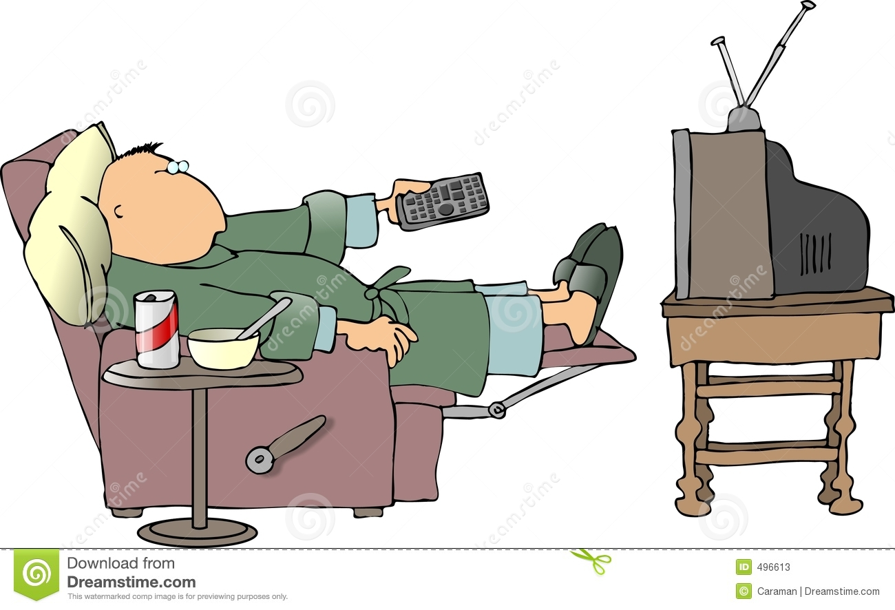 This Illustration Depicts A Man In An Easy Chair Watching Tv