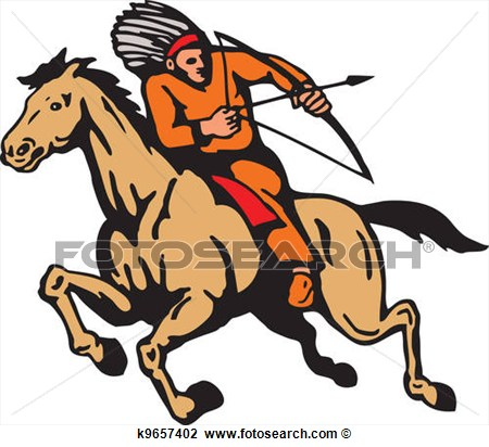 American Indian Riding Horse Bow And Arrow View Large Clip Art Graphic
