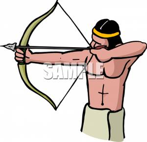 American Man Aiming A Bow And Arrow   Royalty Free Clipart Picture