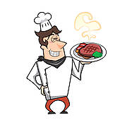 Cartoon Chef With Steak Dinner   Clipart Graphic