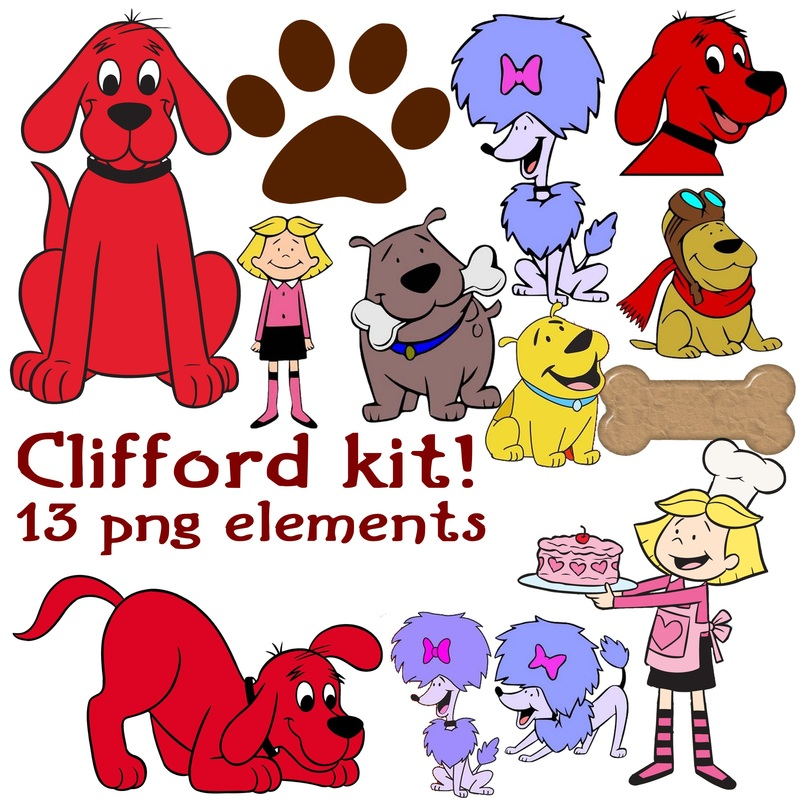 Clifford The Big Red Dog Clipart  Pngs  Digital Scrapbook