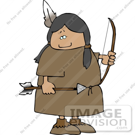 Native American Woman With A Bow And Arrow Clipart    14628 By Djart