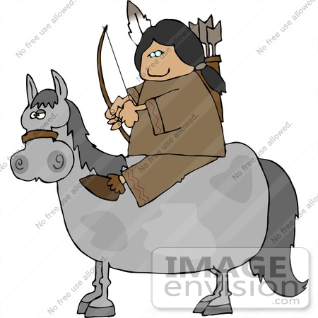 Native American Woman With A Bow And Arrows On A Horse Clipart  14636