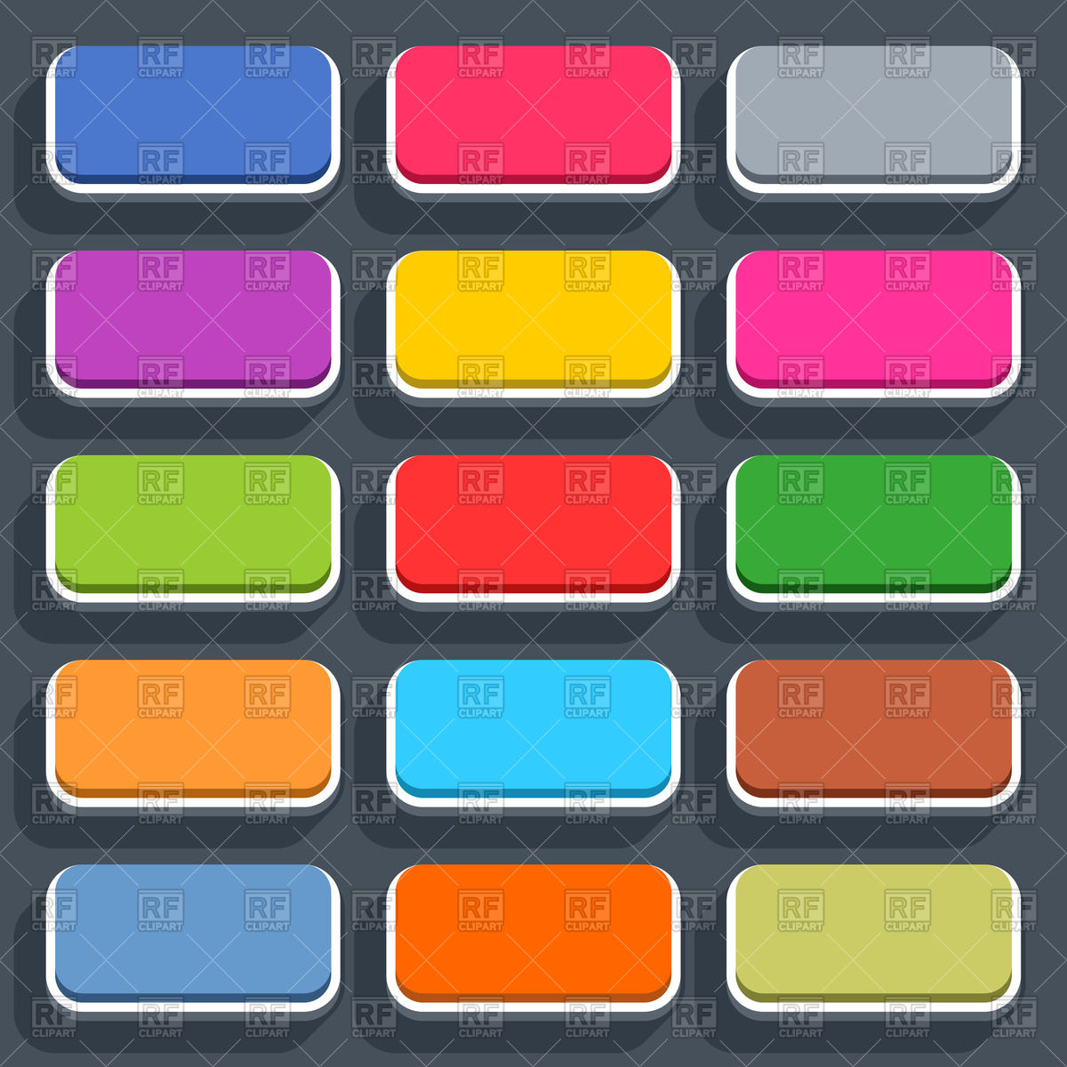 Rectangle Flat Style 3d Buttons With Rounded Corners Download Royalty