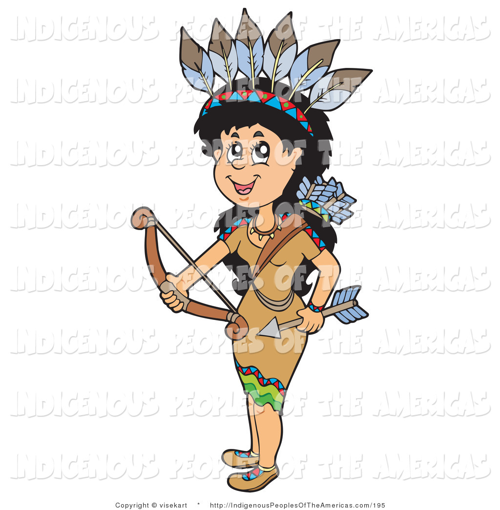 Vector Clipart Of A Native American Indian Woman Holding A Bow And