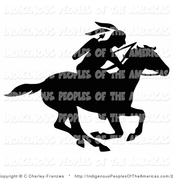 Vector Clipart Of A Silhouetted Native American Indian On Horseback