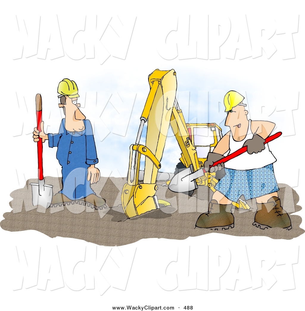 Clipart Of A Funny Construction Worker Man Wearing Boxer Shorts While