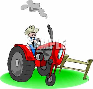 Funny Cartoon Tractor Isolated Agricultural Machine