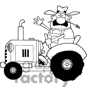 Happy Farmer In Red Tractor  Waving A Greeting