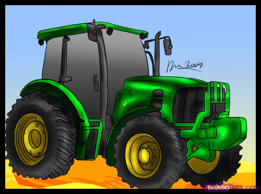 How To Draw A Tractor Step By Step Trucks Transportation Free