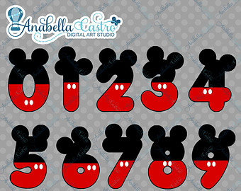 Instant Download Mickey Mouse Inspi Red Clipart Numbers Clip Art For