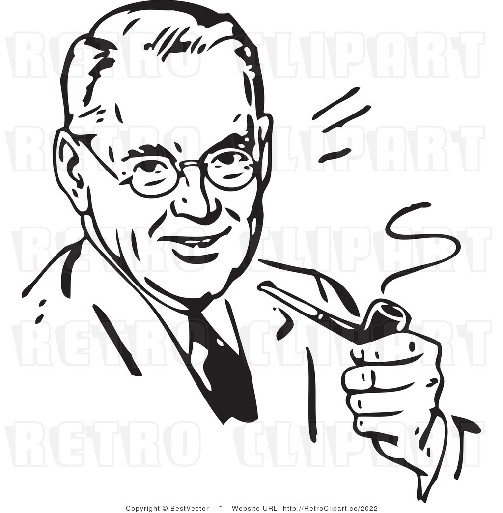 Royalty Free Black And White Retro Vector Clip Art Of A Man Smoking A