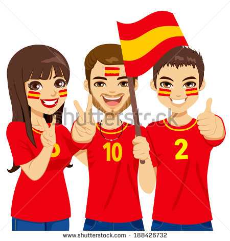 Soccer Fans Cheering Their Spain National Football Team   Stock Vector