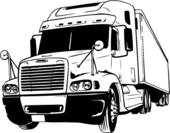 Trailer Flatbed Truck Illustration Lineart Tractor Trailer Truck