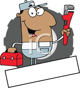 African American Plumber Holding Tools   Royalty Free Clipart Picture