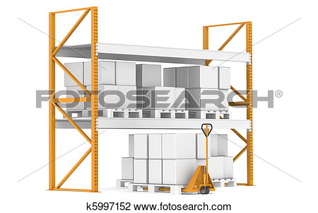 Clip Art   Warehouse Shelves Pallets And A Hand Truck   Fotosearch