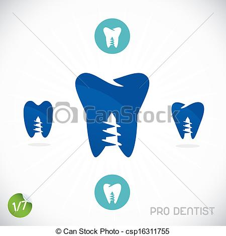 Clipart Vector Of Dentist Symbols Sign Illustration Button Badge