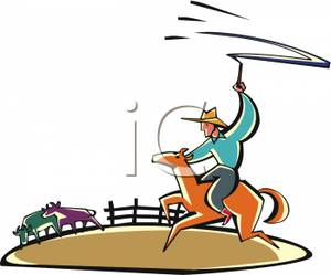 Cowboy On A Horse Roping Cattle   Royalty Free Clipart Picture