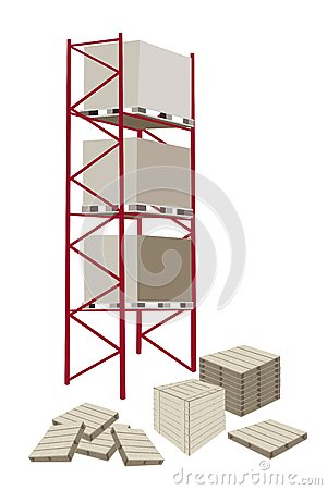 Illustration Of Cargo Shelf With Wooden Crates For Storage Of Goods