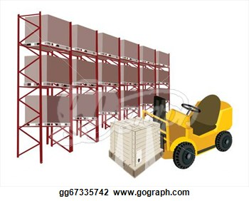 In Industrial Warehouse And Cargo Shelf   Clipart Drawing Gg67335742