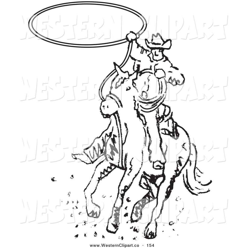 Larger Preview  Vector Western Clip Art Of A Cowboy Riding A Horse And