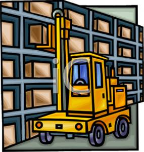 Lift Truck Loading A Box Onto A Shelf   Royalty Free Clipart Picture