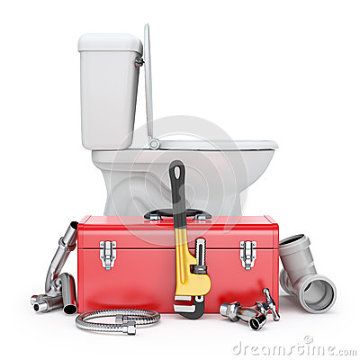 Plumber Tools With Monkey Wrench Toolbox Toilet Bowl Faucet And