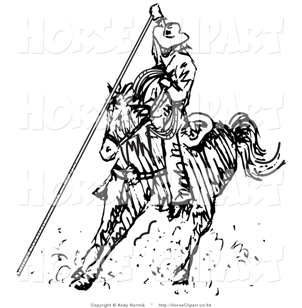 Preview  Clip Art Of A Cowboy Riding A Horse Roping Something