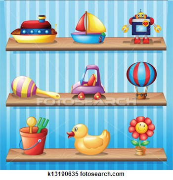 Three Wooden Shelves With Different Toys   Fotosearch   Search Clipart
