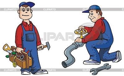 Two Pictures Of Plumber With Tools Working Vector Illustration