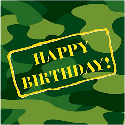 Army Party Supplies   Camoflauge Happy Birthday Luncheon Napkins