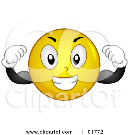 Clipart Strong Yellow Smiley Flexing   Royalty Free Vector