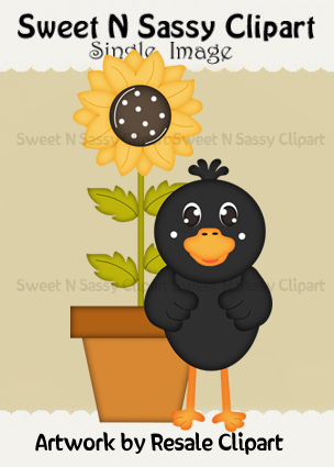 Fall Gathering Crow Single    0 34   Sweet N Sassy Clipart