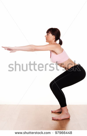 Female Squat Clipart Woman Wearing Pink Tank Top
