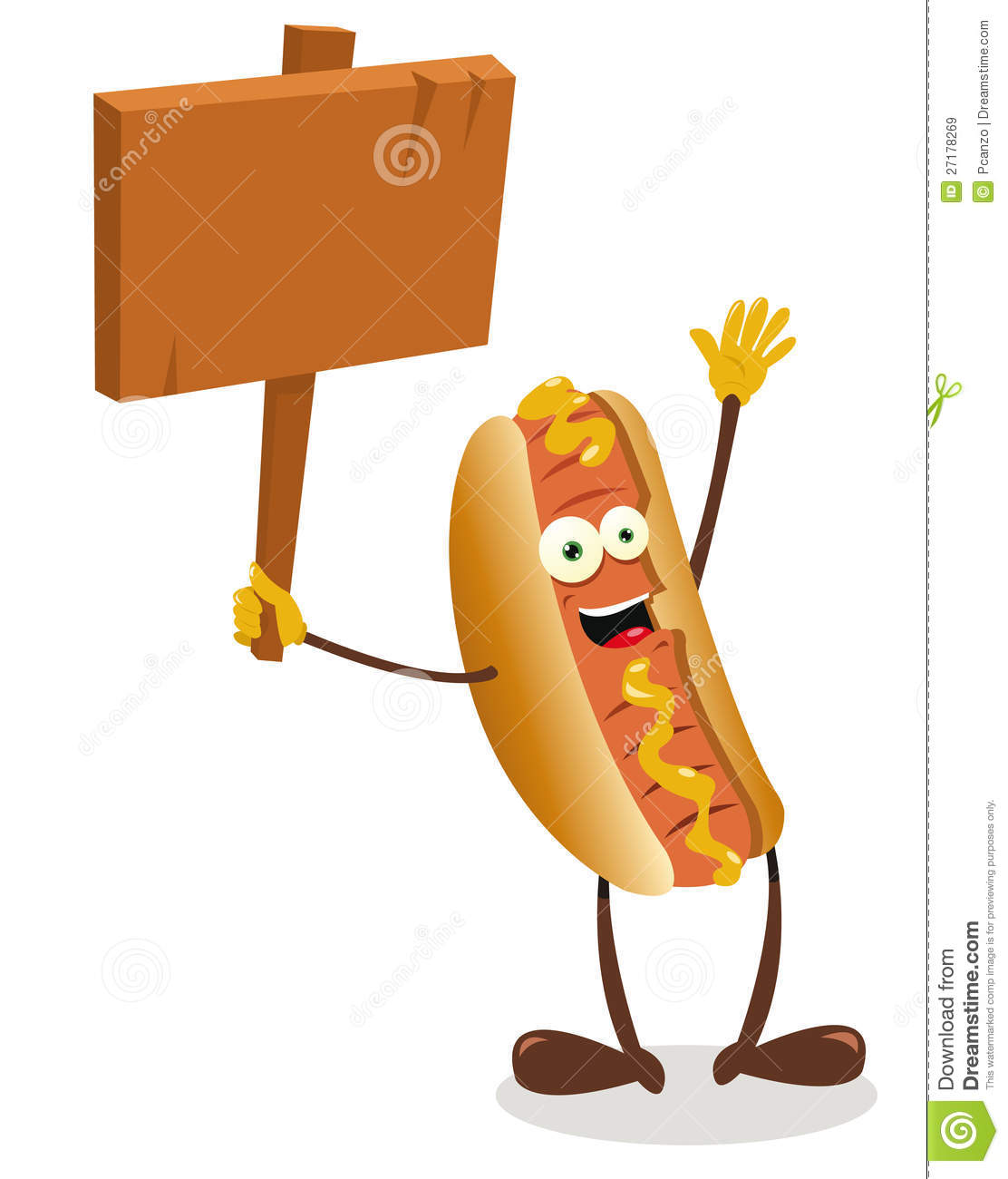Funny Hot Dog Holding A Wooden Sign Royalty Free Stock Images   Image