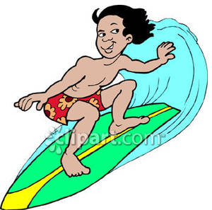 Kid Surfing A Big Wave   Royalty Free Clipart Picture