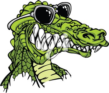 Picture Of The Head Of A Cartoon Alligator Wearing Sunglasses In A
