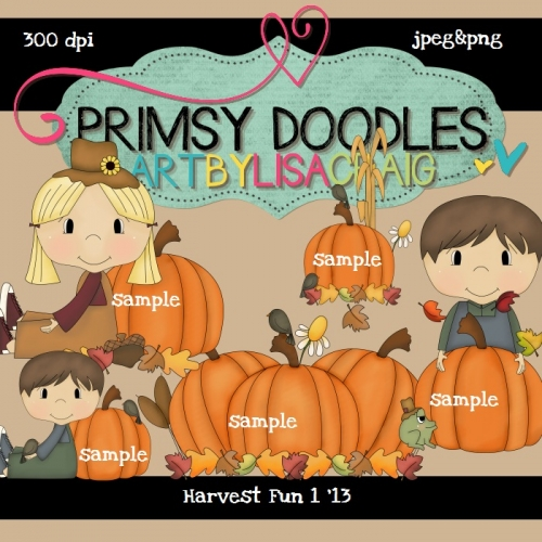 Primsy Doodle Designs   Products Page   Clipart   13 Harvest Fun 1