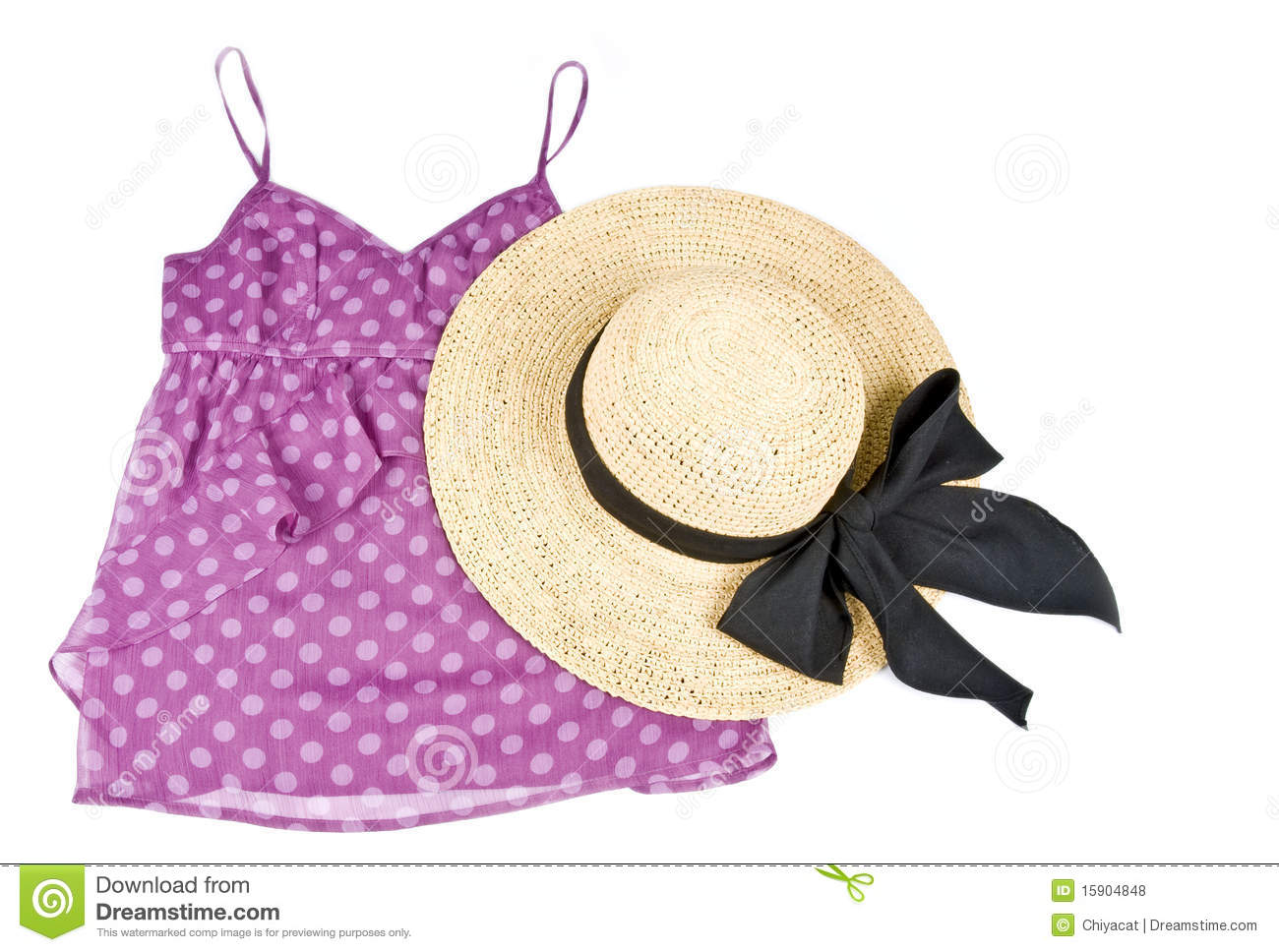 Royalty Free Stock Photos  Pink Tank Top And Straw Hat Isolated On