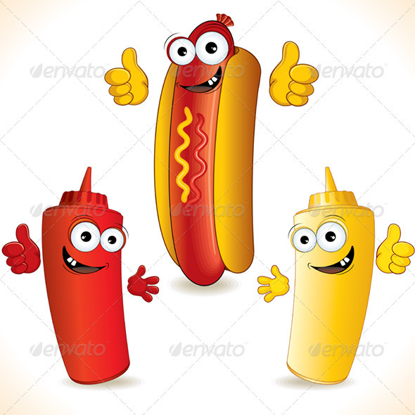 Smiling Cartoon Hot Dog With Funny Friends