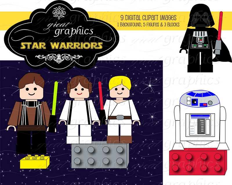 Star Wars Lego Clip Art Printable Star Warriors Block Figures Clip Art